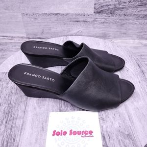 Franco Sarto Diego Leather Mule Slides Black 10